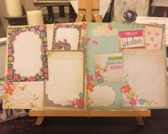 Two premade 12 x 12 girl scrapbook pages