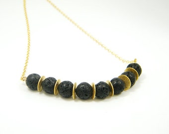 Lava gold necklace,Women necklace,Black stone necklace,Statesman necklace,Gift for women