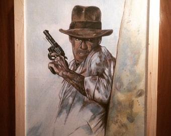 "Hand Painted DR. INDIANA JONES Raiders of the Lost Ark Acrylic Painting on Hardboard 19"" x 26"" Indiana Jones"