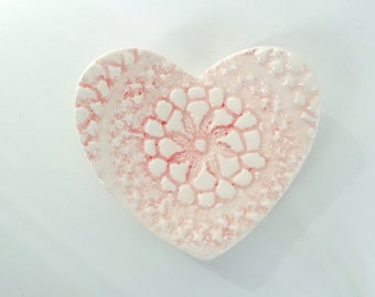 Baby pink heart lace textured ceramic trinket dish, romantic ring holder jewelry catcher, pottery soap holder or spoon rest, ring bearer