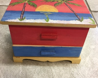 Hand painted  jewelry box key west Sundet Palm trees