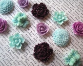 12 Fridge Magnets in Plum, Lavender, Aqua, Flower Magnets, Locker Magnets, Office Supply, Hostess Gifts, Wedding Favors
