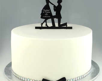 1 x Proposal Silhouette Acrylic Wedding Cake Topper