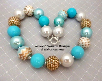 Girl's Chunky Rhinestone Necklace with Teal, White & Gold Beads and Pearls (Frozen Inspired)