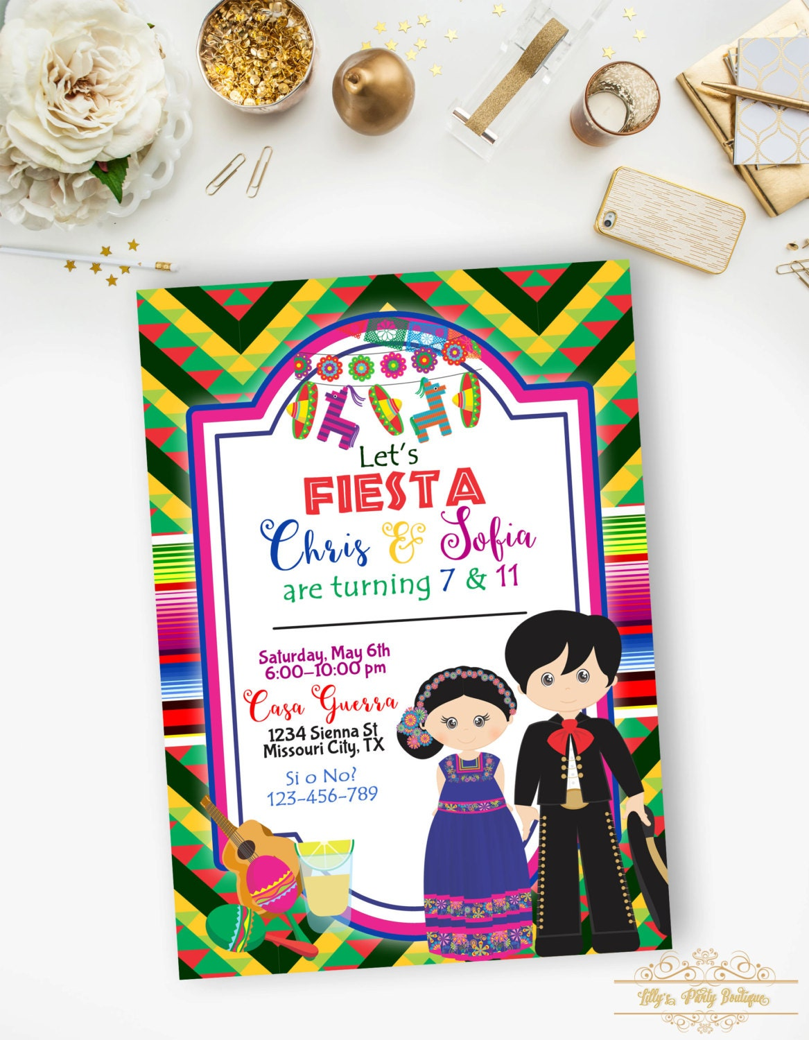 Fiesta Mexican Birthday Invitation Brother and Sister Fiesta