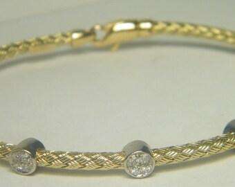 14kt yellow gold diamond flexible bracelet