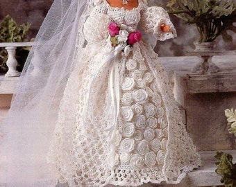 Crochet Barbie Fashion Doll Pattern BLUSHING BRIDE ~ Wedding Gown w/Train & Veil