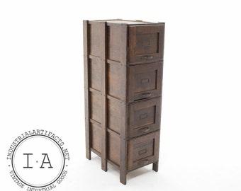 Vintage Weis Oak Wooden 4 Drawer Storage Cabinet