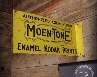 Vintage Double Sided Moen Tone Kodak Prints Flange Metal Advertising Sign Photography
