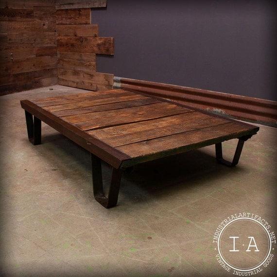 Vintage Industrial Wood Work Cart Cast Iron Legs Coffee Table