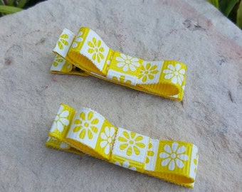 Girls Hair Clips, Tuxedo clips, baby hair clips, ribbon hair clips, hair clips for girls, toddler hair clips, Yellow and white flowers