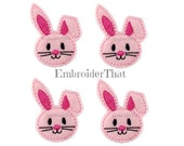 UNCUT Floppy Bunny face felt applique embellishment felties hair bow centers(4)