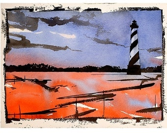 Watercolor painting of Cape Hatteras lighthouse- Outer Banks, North Carolina.  Lighthouse art.  Painting lighthouse watercolor landscape art