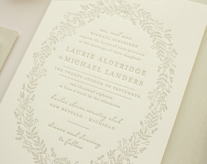 Letterpress Invitations with Flowers, Wreath Wedding Invitation in Taupe, Woodsy Wedding Invitation for Spring Weddings | DEPOSIT | Enamored