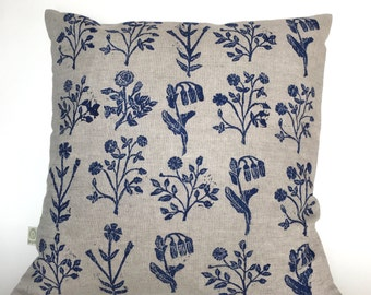 Linoblock printed pillow cover Medieval flowers