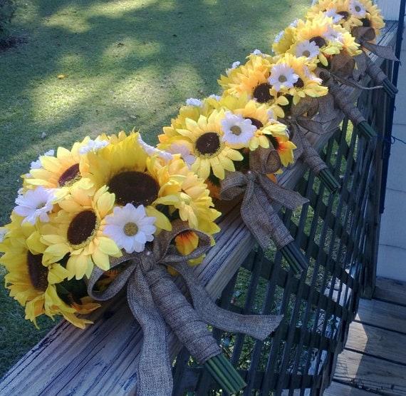 Sunflower Wedding Bouquet Ideas: Sunflower Bouquet 5 Piece Rustic Wedding Bouquet Flower Set