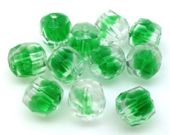 5 Vintage Clear Green Givre German Faceted Glass Beads 10mm