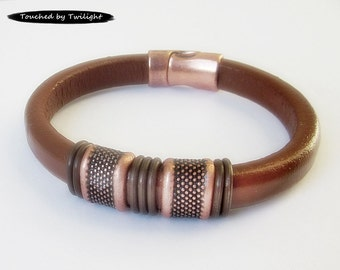 Mens Brown Leather Bracelet, Copper Bracelet, Husband Gift, Boyfriend Gift, Fathers Day Gift