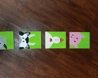 Farm Animal Canvases (Set of 4)