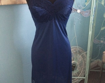Vintage Vassarette navy blue slip