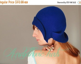 On sale Vintage style hat Handmade blue cloche felt hat royal blue hat