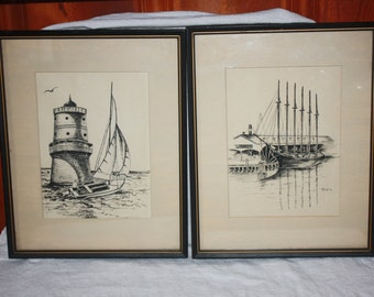 Vintage Pair Pen and Ink Drawings Thimble Shoals Lighthouse & Elizabeth River Waterfront w/Ship