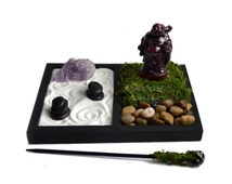 Mini Zen Garden // Laughing Buddha Statue // Desk Accessory // Terrarium // Rough Amethyst Quartz Crystal // DIY Zen Kit // Meditation