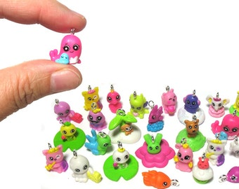 Kawaii Charms - Tiny Animal Charms - Musical Fish Underwater Creatures Miniature Charms - Kawaii Grab Bag - Cute Stuff  - Set  06T