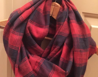 Red and Blue Plaid Infinity Scarf-petite