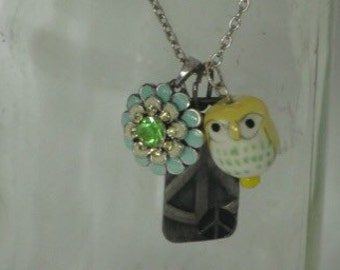 Owl and Peace Charm Necklace