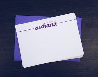 Personalized Hand Lettered Blank Notecards with Envelopes (Set of 8)