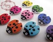Cute Ladybugs Printed 2-Hole Wooden Buttons, mixed color ladybug, wood buttons, ladybug buttons, sewing buttons, bugs - reynaredsupplies