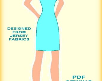 PDF Dress Sewing Pattern-One shouldered dress with neck flounce-instant download-sizes 34,36,38,40,42