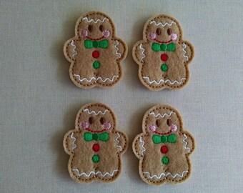 "Gingerbread boy, set of 4, Felties, 2"" x 1.75"""