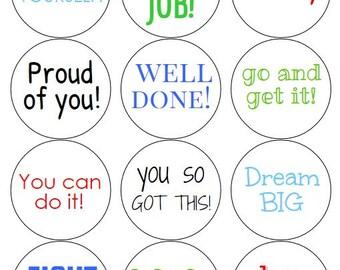 12 Motivational Stickers, School Stickers, Well Done, Inspirational Stickers, Motivational Labels, School Labels, Back to School, Motivate