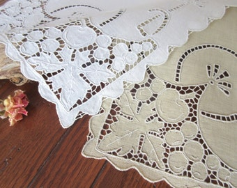 Cutwork Embroidered Table Runner Dresser Scarf White  Embroidery Classic Home Decor