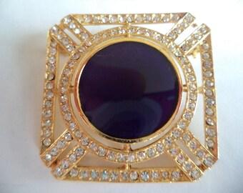 Vintage Signed Sphinx Goldtone/Purple/Rhinestones Art Deco Brooch/Pin