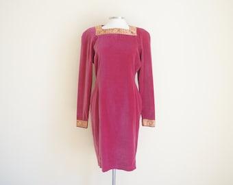 Vintage Embroidered Velvet Dress
