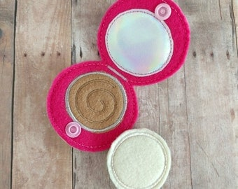 Play Makeup Face Powder Set, 2 Pieces, Embroidered Pink Felt and Vinyl, Snaps Closed, Pretend Compact, US Made, Pretend Play, Pretend Makeup