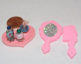 1:6, Barbie Size, Miniature Perfume Bottles, Pink Vanity Tray, Pink Mirror, Pink Comb, Doll House, Dollhouse, Handmade, Toiletries