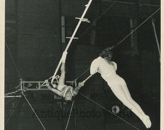 Ringling Bros circus acrobats high wire act antique photo