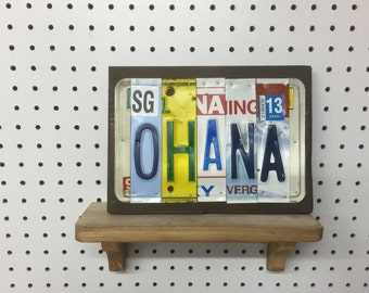 License Plate Sign License Plate letter Art Picture Home Deco OHANA License Plate Letter Sign License Plate Art