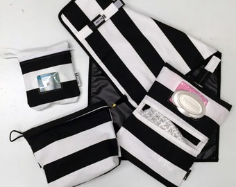 Stylish Mama New Baby Gift Set in Black + White Stripes- Ready to Ship