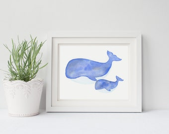 ORIGINAL watercolor whales painting, nursery decor, NOT A PRINT!