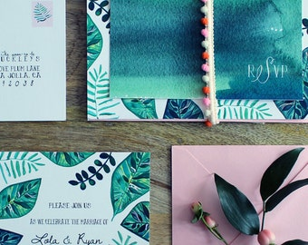 Botanical Invitation Suite: Tropical, Hand Painted, Lush Greens