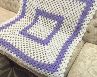 crochet baby blanket lilac and ivory