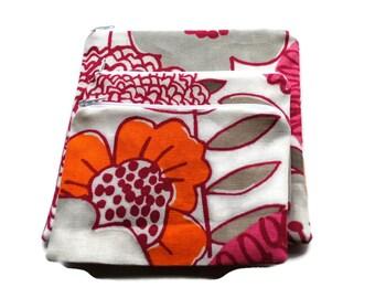 Reusable Zipper Snack Sandwich Bags set of 3 White Pink Orange Flowers Cotton Twill