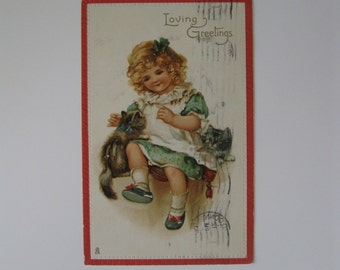 Valentine's Day Vintage Post Card - Loving Greetings - Raphael Tuck Valentine Series #148 - Used - 1910
