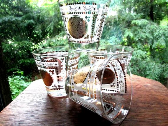 Mid Century Barware, Set of 4 Lowballs, Hazel Atlas Gold Medallion, Aztec Design, 2 Sets Avail