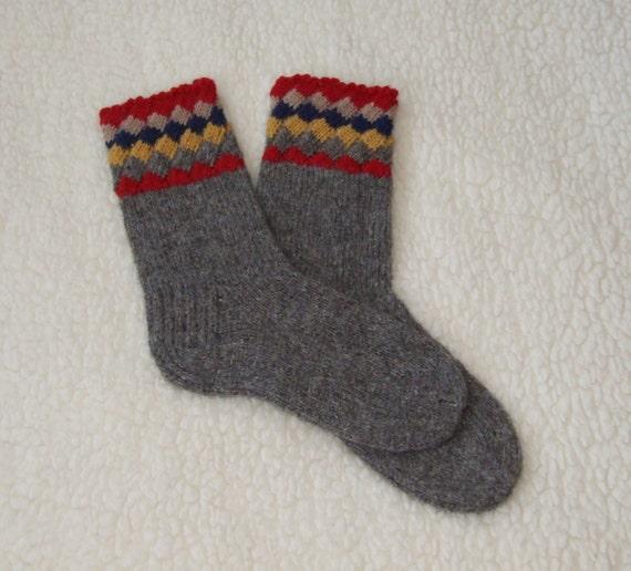 Knitting Pattern Thick Wool Socks : Hand knit wool socks Gray wool socks Thick wool socks Socks